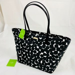 New! Kate Spade Polka Dots Large Leather Tote Bag